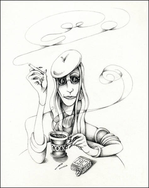 Drawing - Cafe Lady by Valerie White