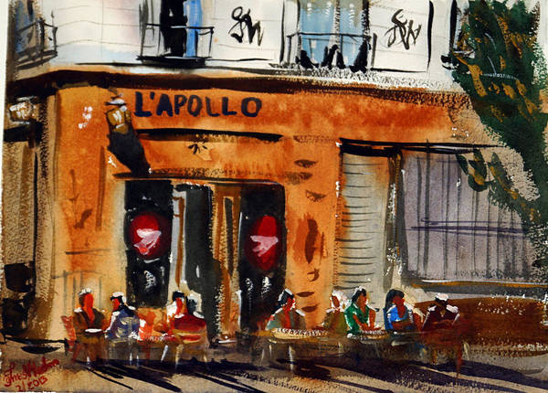 People Watching Painting - Cafe L'apollo, Bordeaux by James Nyika