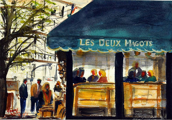 Wall Art - Painting - Cafe Le Deux Magots by James Nyika