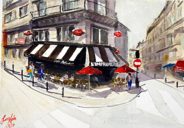 Wall Art - Painting - Cafe L'imprimerie by James Nyika