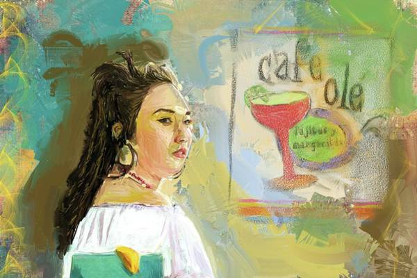 Digital Art - Cafe Ole Girl by Eduardo Tavares