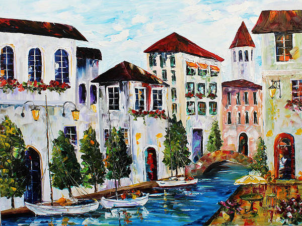 Painting - Cafe On Canal by Kevin Brown