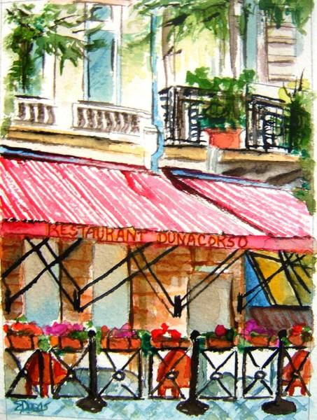 Wall Art - Painting - Cafe On The Danube by Elaine Duras