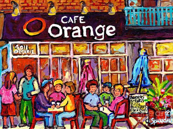 Painting - Cafe Orange Decarie Ndg West End Street Scene Montreal Winter Hockey Art Canadian Painting C Spandau by Carole Spandau