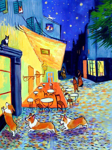 Wall Art - Painting - Cafe Terrace At Night - After Van Gogh With Corgis by Lyn Cook