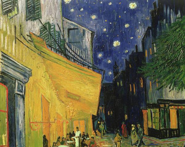 Parisian Cafe Painting - Cafe Terrace, Place Du Forum, Arles Detail by Vincent Van Gogh
