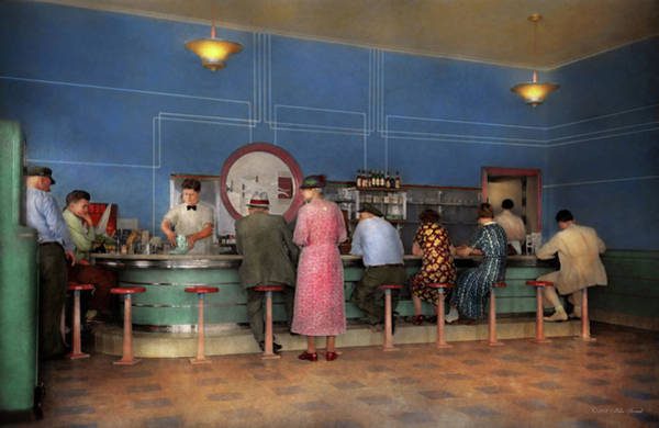 Photograph - Cafe - The Half Way Point 1938 by Mike Savad