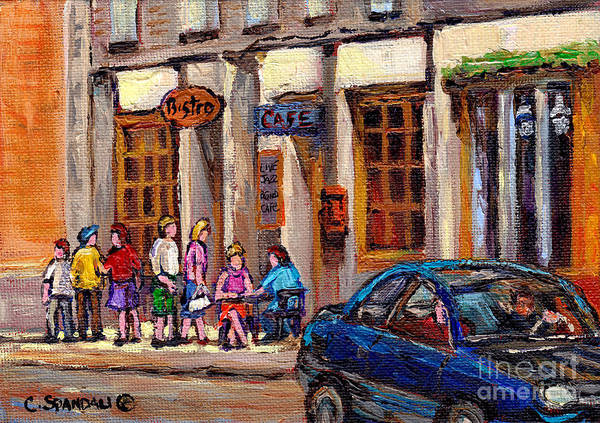 Painting - Outdoor Cafe Painting Vieux Montreal City Scenes Best Original Old Montreal Quebec Art by Carole Spandau