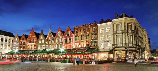 Photograph - Cafes And Restaurants On Markt Square - Bruges by Barry O Carroll