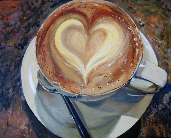 Wall Art - Painting - Caffe Vero's Heart by Chrissey Dittus
