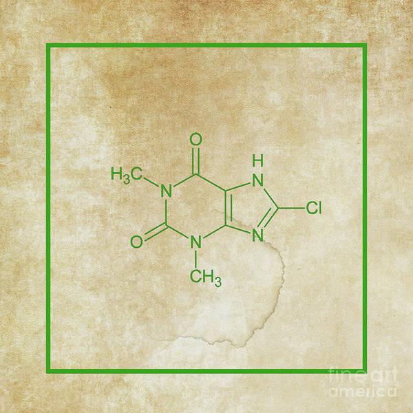 Compound Mixed Media - Caffeine Molecular Structure Vintage by Doc Braham