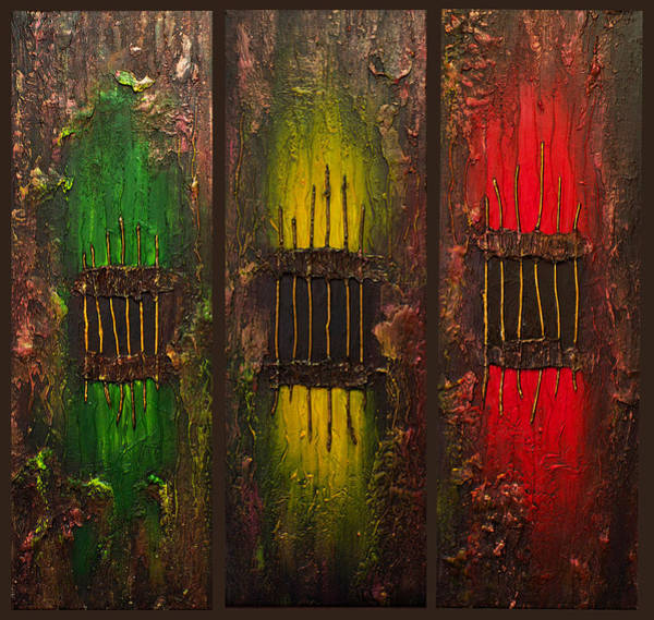 Bronze Painting - Caged Abstract by Patricia Lintner