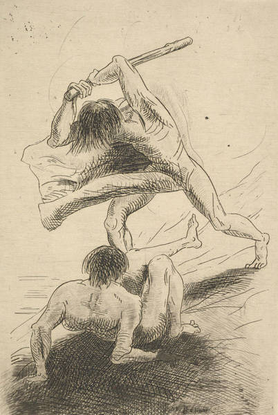 Relief - Cain And Abel by Odilon Redon