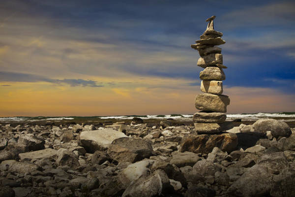 Charlevoix Photograph - Cairn At Sunset On The Rocky Shore Of Lake Michigan by Randall Nyhof
