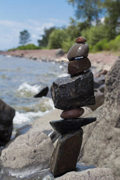 Balancing Rocks Photograph - Cairn Meditation Stones In Color by Heidi Hermes