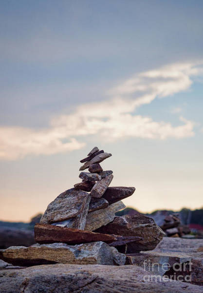 Photograph - Cairn, Peaks Island, Maine  -07775 by John Bald