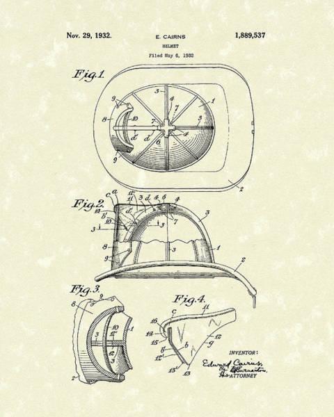 Drawing - Cairns Helmet 1932 Patent Art by Prior Art Design