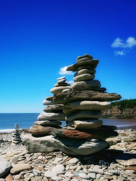 Photograph - Cairns On A Rocky Beach by Mary Capriole