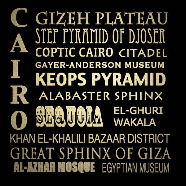 Famous Places Digital Art - Cairo Egypt Famous Landmarks by Patricia Lintner