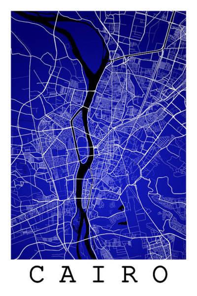 East Africa Digital Art - Cairo Street Map - Cairo Egypt Road Map Art On Colored Backgroun by Jurq Studio