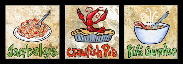 Wall Art - Painting - Cajun Food Trio by Elaine Hodges