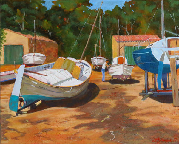 Painting - Cala Figuera Boatyard - I by David Gilmore