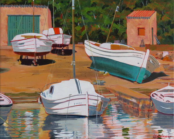 Painting - Cala Figuera Boatyard - II by David Gilmore