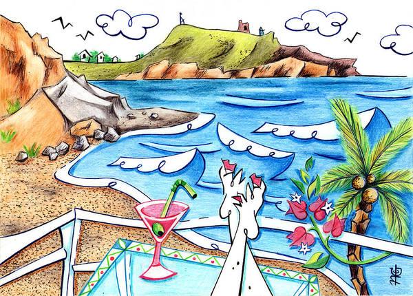 Wall Art - Drawing - Cala Plomo Costa Del Sol - Parque Natural Cabo De Gata Almeria by Arte Venezia