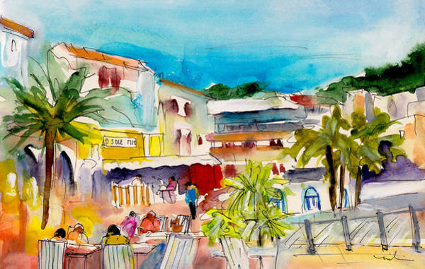 Spanish Restaurant Painting - Cala Ratjada Town by Miki De Goodaboom