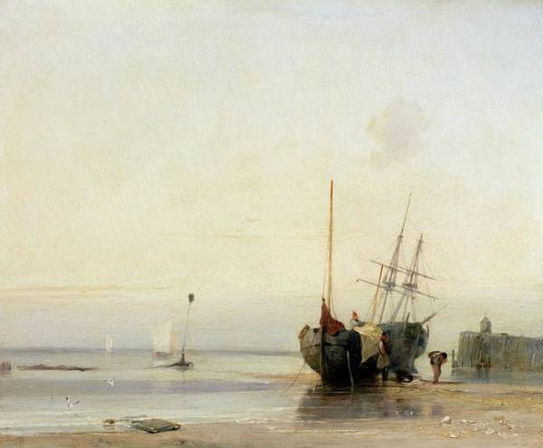 Jetty Painting - Calais Pier by Richard Parkes Bonington