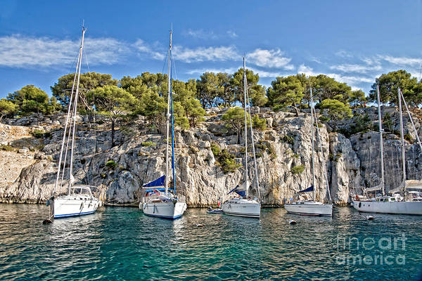 Inlet Photograph - Calanque And Boats by Delphimages Photo Creations