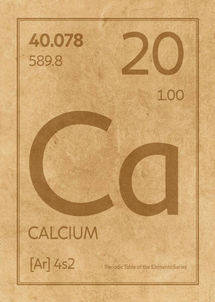 Elements Mixed Media - Calcium Element Symbol Periodic Table Series 020 by Design Turnpike
