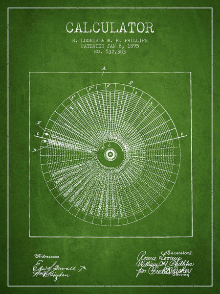 Count Digital Art - Calculator Patent From 1895 - Green by Aged Pixel