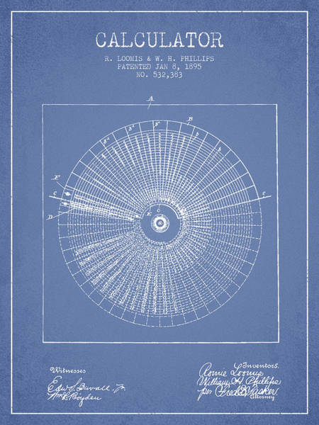 Count Digital Art - Calculator Patent From 1895 - Light Blue by Aged Pixel