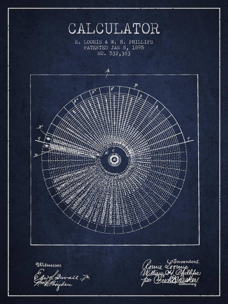 Count Digital Art - Calculator Patent From 1895 - Navy Blue by Aged Pixel