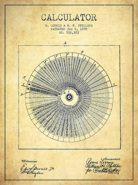 Count Digital Art - Calculator Patent From 1895 - Vintage by Aged Pixel
