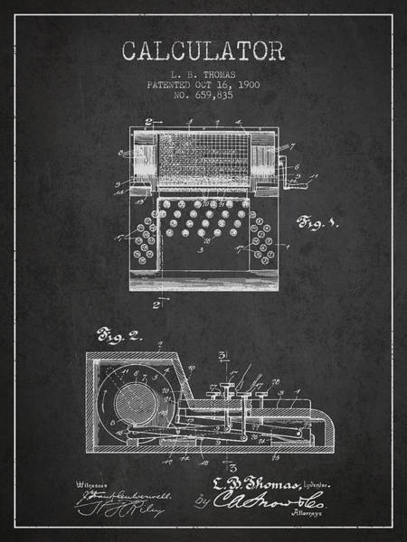 Count Digital Art - Calculator Patent From 1900 - Charcoal by Aged Pixel