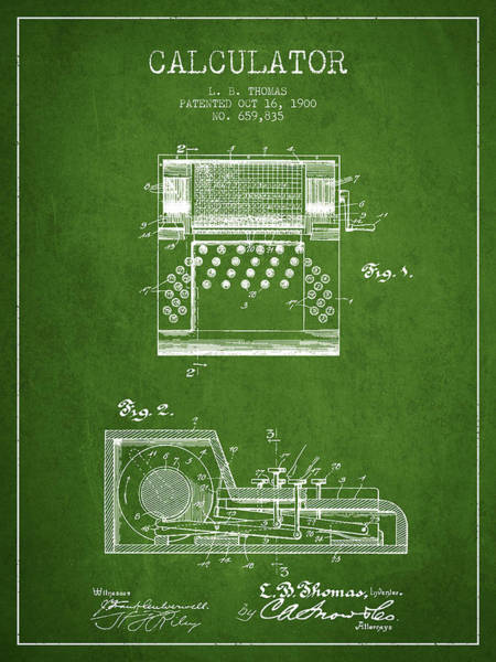 Count Digital Art - Calculator Patent From 1900 - Green by Aged Pixel