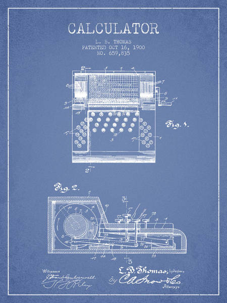 Count Digital Art - Calculator Patent From 1900 - Light Blue by Aged Pixel
