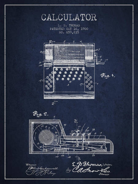 Count Digital Art - Calculator Patent From 1900 - Navy Blue by Aged Pixel