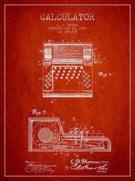 Count Digital Art - Calculator Patent From 1900 - Red by Aged Pixel