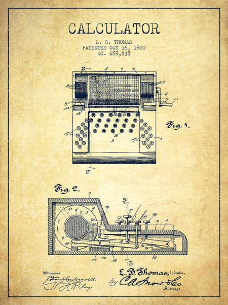 Count Digital Art - Calculator Patent From 1900 - Vintage by Aged Pixel