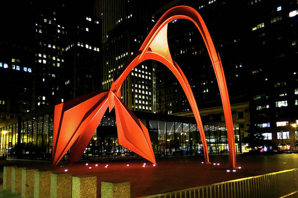 Photograph - Calder Flamingo Sculpture At Night by Patrick Malon