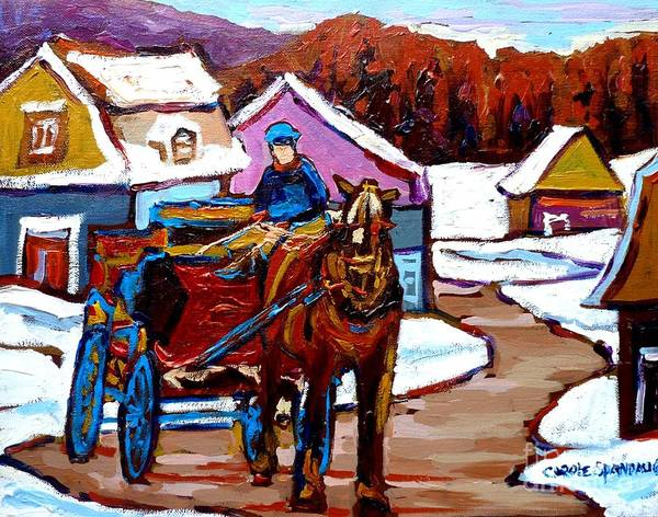 Painting - Caleche Ride In Quebec Winter Landscape Canadian Scenes Carole Spandau                               by Carole Spandau