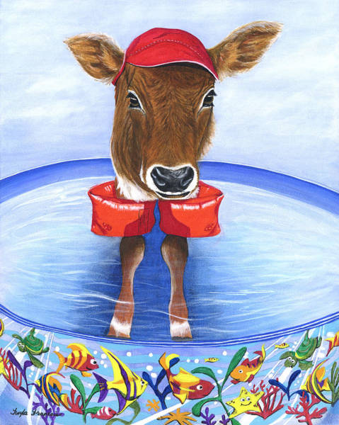 Kiddie Pool Painting - Calf Days Of Summer by Twyla Francois