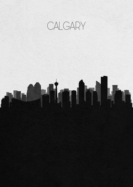 Souvenir Digital Art - Calgary Cityscape Art by Inspirowl Design