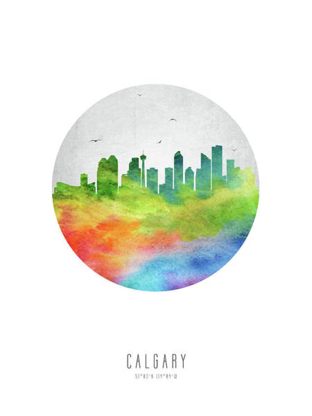 Wall Art - Digital Art - Calgary Skyline Caabca20 by Aged Pixel
