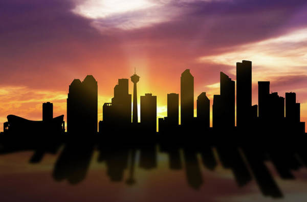 Wall Art - Digital Art - Calgary Skyline Sunset Caabca22 by Aged Pixel