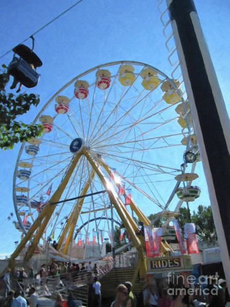 Digital Art - Calgary Stampede Ferris Wheel by Donna L Munro