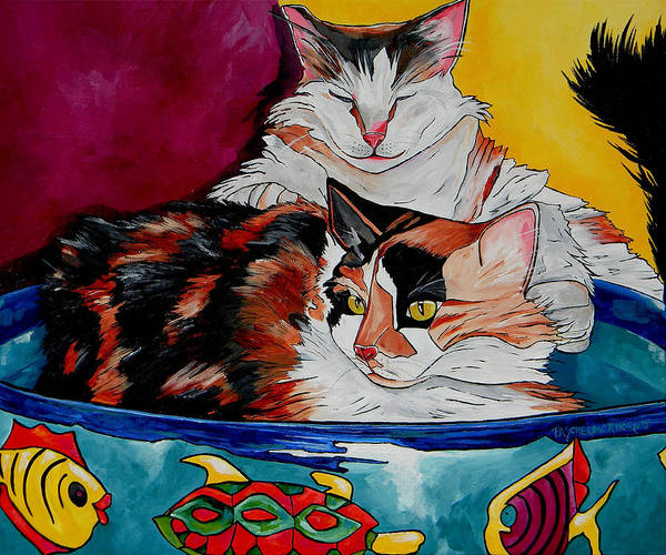 Calico Cat Painting - Calico And Et by Patti Schermerhorn